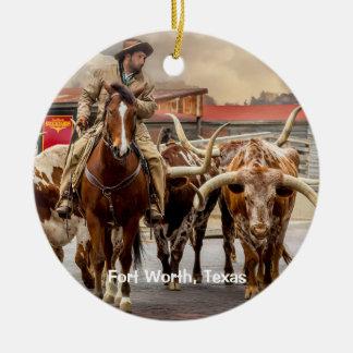 Ornement Rond En Céramique Longhorns de Fort Worth, le Texas