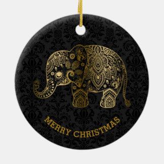 Ornement Rond En Céramique L'or modifie la tonalité l'éléphant floral sur les