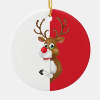 Ornement Rond En Céramique L'ornement rouge de Noël | de renne de nez