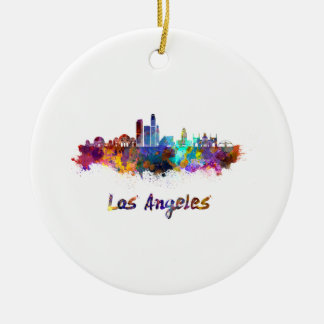 Ornement Rond En Céramique Los Angeles skyline in watercolor