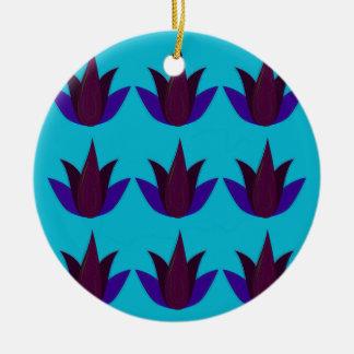 Ornement Rond En Céramique Lotus bleus