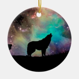 Ornement Rond En Céramique Loup américain - conception de loup - silhouettez