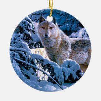 Ornement Rond En Céramique Loup arctique - loup blanc - art de loup