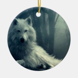 Ornement Rond En Céramique Loup arctique - loup de forêt - loup de neige -
