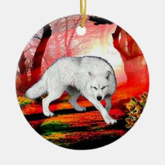 Ornement Rond En Céramique Loup blanc - loup arctique - loup américain