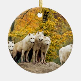 Ornement Rond En Céramique Loup blanc - loup de neige - animal de loup
