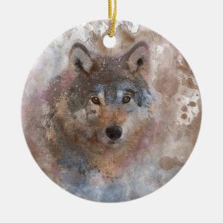 Ornement Rond En Céramique Loup dans l'aquarelle