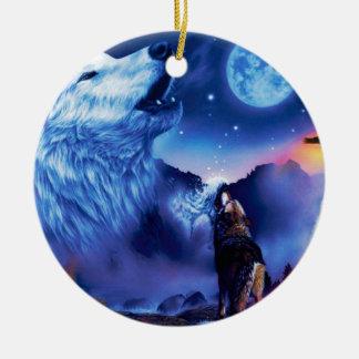 Ornement Rond En Céramique Loup de Howlin - loup blanc - art de loup - loup