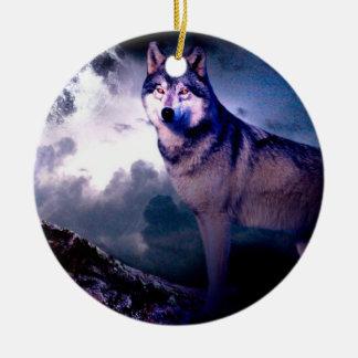 Ornement Rond En Céramique Loup de lune - loup gris - loup sauvage - loup de