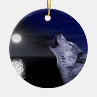 Ornement Rond En Céramique Loup de mer - loup de lune - pleine lune - loup