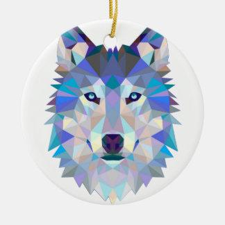 Ornement Rond En Céramique Loup de polygone - loup géométrique - loup