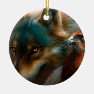 Ornement Rond En Céramique Loup gris - faucon rouge - art de loup - loup