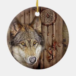 Ornement Rond En Céramique Loup indien indigène de receveur rêveur occidental