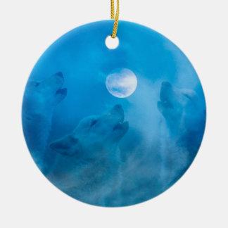 Ornement Rond En Céramique Loups et cadeaux de Natif américain de lune