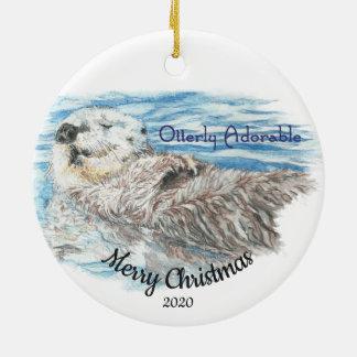 Ornement Rond En Céramique Loutre adorable d'Otterly de Noël daté de coutume