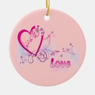 Ornement Rond En Céramique Love -