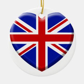 Ornement Rond En Céramique love drapeau Angleterre