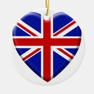 Ornement Rond En Céramique love drapeau Royaume-uni Angleterre