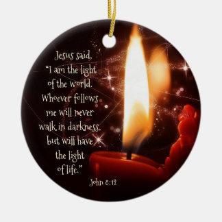 Ornement Rond En Céramique Lumière de Jésus du psaume 8, Noël fait sur