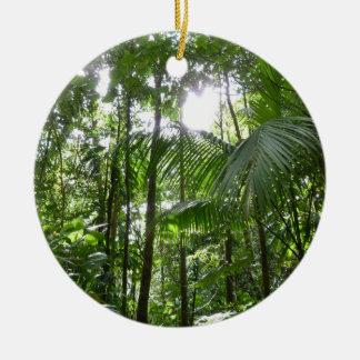 Ornement Rond En Céramique Lumière du soleil par le vert tropical d'auvent de