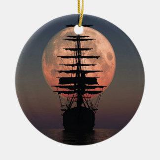 Ornement Rond En Céramique Lune de pirate de navigation