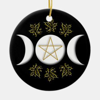 Ornement Rond En Céramique Lune et pentagone étoilé triples #1 nouveaux