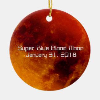 Ornement Rond En Céramique Lune superbe 2018 de sang bleu