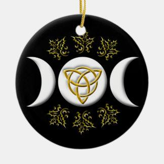 Ornement Rond En Céramique Lune triple et Tri-Quatra #1