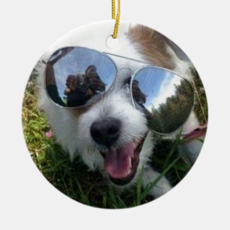 Ornement Rond En Céramique Lunettes de soleil l'AVENIR LUMINEUX de chien pour