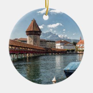 Ornement Rond En Céramique Luzerne de pont de chapelle, Suisse
