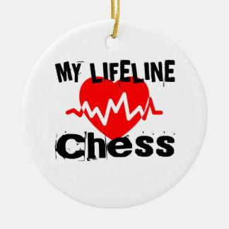 Ornement Rond En Céramique Ma ligne de vie échecs folâtre des conceptions