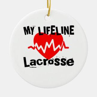 Ornement Rond En Céramique Ma ligne de vie lacrosse folâtre des conceptions