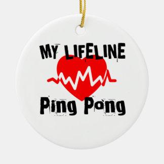 Ornement Rond En Céramique Ma ligne de vie ping-pong folâtre des conceptions
