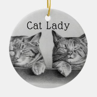 Ornement Rond En Céramique Madame drôle de chat de chats vintages mignons