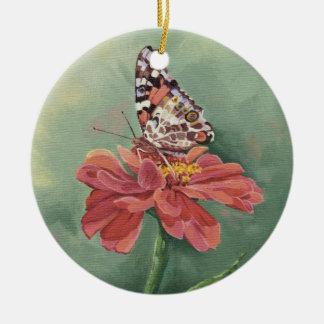 Ornement Rond En Céramique Madame peinte par 0461 Butterfly sur le Zinnia