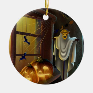 Ornement Rond En Céramique Maison pour Halloween -