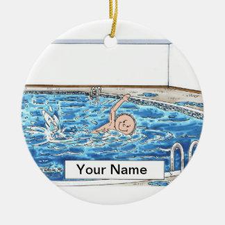 Ornement Rond En Céramique Mâle de nageur