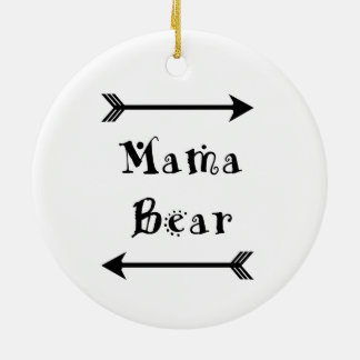 Ornement Rond En Céramique Maman Bear