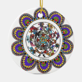 Ornement Rond En Céramique Mandal floral dans le style de Madhubani