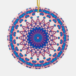Ornement Rond En Céramique Mandala bleu et rose