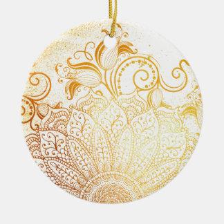 Ornement Rond En Céramique Mandala - brosse d'or