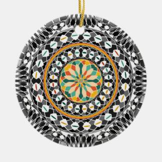 Ornement Rond En Céramique Mandala contrasté