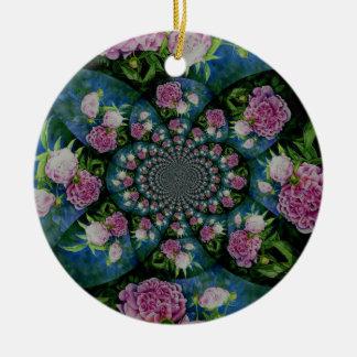 Ornement Rond En Céramique Mandala de pivoine