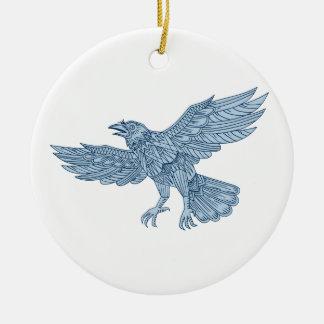 Ornement Rond En Céramique Mandala de vol de corneille
