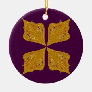 Ornement Rond En Céramique Mandala d'or sur le vin