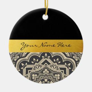 Ornement Rond En Céramique Mandala élégant personnalisé de noir et d'or
