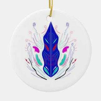 Ornement Rond En Céramique Mandala folklorique, bleu