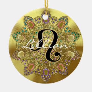 Ornement Rond En Céramique Mandala personnalisé de Lion de signe de zodiaque