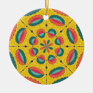 Ornement Rond En Céramique Mandala tropical texturisé