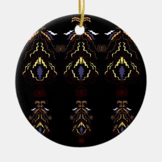 Ornement Rond En Céramique Mandalas folkloriques de luxe sur le noir